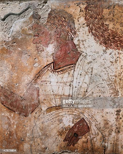 Aristocratic male figure fresco from Tomb 1 of the Necropolis in Spinazzo in Paestum Campania Italy Detail Ancient Greek civilization Magna Graecia...