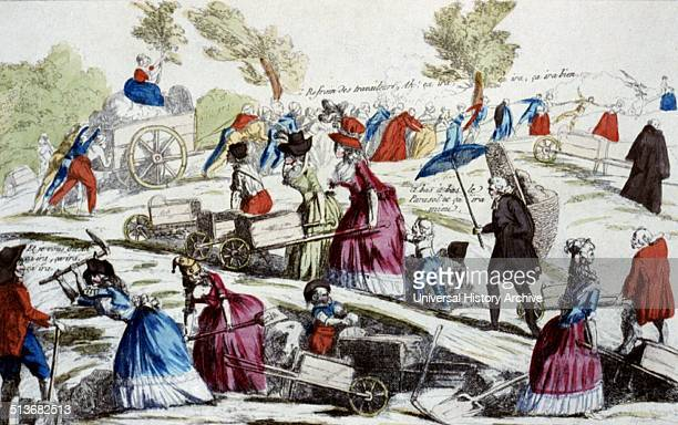 Aristocrats digging the Champ-de-Mars. The image shows well-dressed aristocrats and members of the clergy digging and hauling soil in wheelbarrows in...