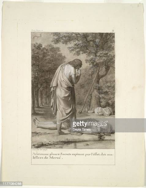 Aristomenes Mourning the Death of Socrates from the Bewitchment of Meroe 1795 AntoineDenis Chaudet Brush and black and gray wash heightened with...