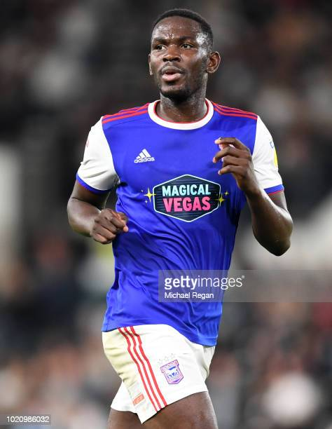 Aristote Nsiala of Ipswich looks on during the Sky Bet Championship match between Derby County v Ipswich Town at Pride Park Stadium on August 21 2018...