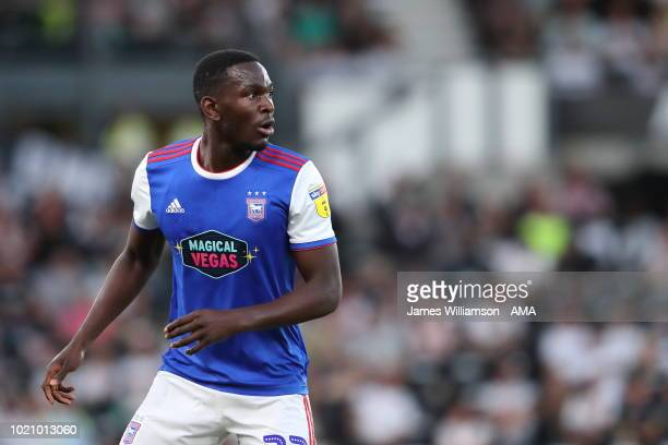 Aristote Nsiala of Ipswich Town during the Sky Bet Championship match between Derby County and Ipswich Town at Pride Park Stadium on August 21 2018...