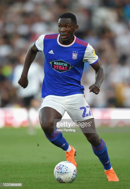 Aristote Nsiala of Ipswich Town runs with the ball during the Sky Bet Championship match between Derby County and Ipswich Town at Pride Park Stadium...