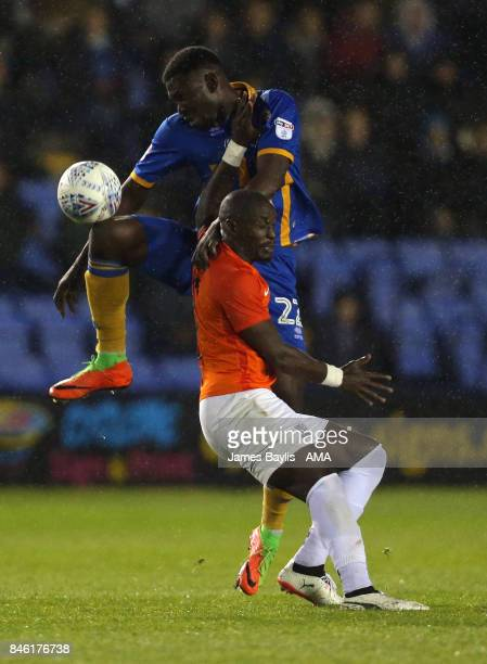 Aristote Nsiala of Shrewsbury Town and MarcAntoine Fortune of Southend United during the Sky Bet League One match between Shrewsbury Town and...
