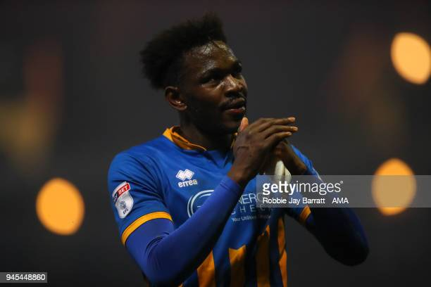 Aristote Nsiala of Shrewsbury Town applauds the fans during the Sky Bet League One match between Bradford City and Shrewsbury Town at Coral Windows...