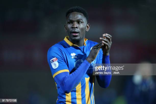 Aristote Nsiala of Shrewsbury Town at full time after the Sky Bet League One match between Fleetwood Town and Shrewsbury Town at Highbury Stadium on...