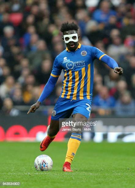 Aristote Nsiala of Shrewsbury Town during the Checkatrade Trophy Final between Lincoln City and Shrewsbury Town at Wembley Stadium on April 8 2018 in...