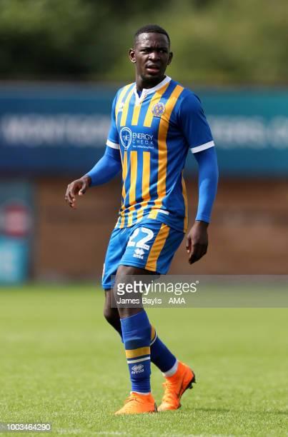 Aristote Nsiala of Shrewsbury Town during the PreSeason Friendly between Shrewsbury Town and Brentford at New Meadow on July 21 2018 in Shrewsbury...