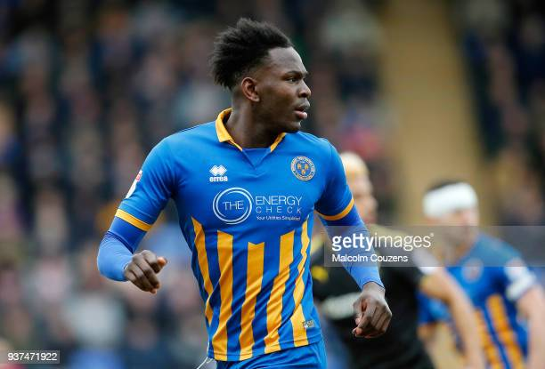 Aristote Nsiala of Shrewsbury Town during the Sky Bet League One match between Shrewsbury Town and AFC Wimbledon at New Meadow on March 24 2018 in...