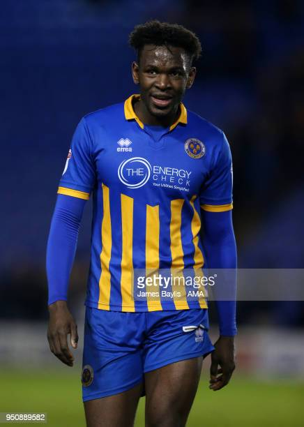 Aristote Nsiala of Shrewsbury Town during the Sky Bet League One match between Shrewsbury Town and Peterborough United at New Meadow on April 24 2018...