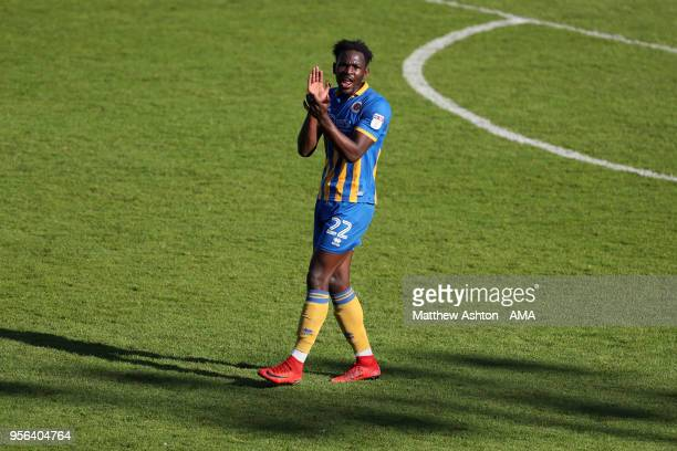 Aristote Nsiala of Shrewsbury Town during the Sky Bet League One match between Shrewsbury Town and Milton Keynes Dons at New Meadow on May 5 2018 in...
