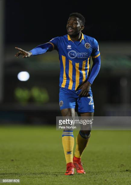 Aristote Nsiala of Shrewsbury Town in action during the Sky Bet League One match between Northampton Town and Shrewsbury Town at Sixfields on March...