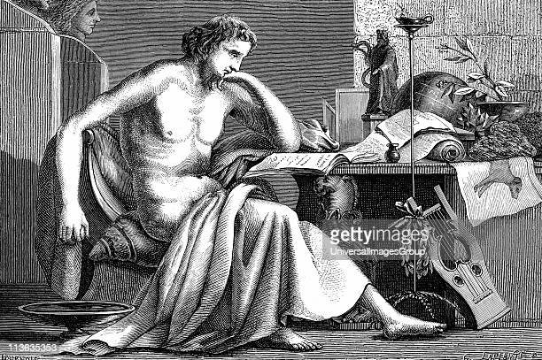 Aristotle Ancient Greek philosopher and scientist Aristotle as a young man in his study Artist's reconstruction wood engraving c1886