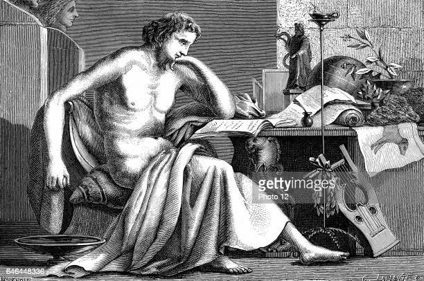 Aristotle Ancient Greek philosopher and scientist c1886 Aristotle as a young man in his study Artist's reconstruction Photo12/UIG via Getty Images