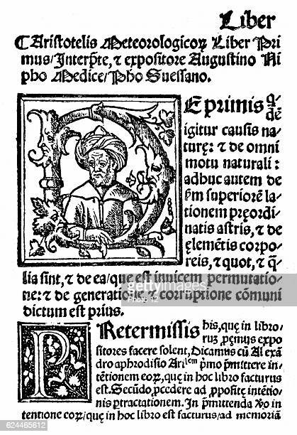 Aristotle Ancient Greek philosopher and scientist First page and initial portrait from Agostini Nifo 'Aristotelis' Meteorologicis Commetaria'...