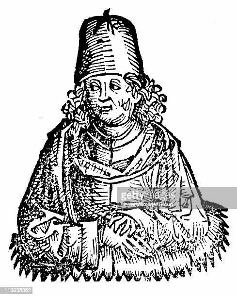 Aristotle Ancient Greek philosopher and scientist Woodcut from Hartmann Schedel Liber chronicarum mundi Nuremberg 1493