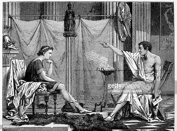 Aristotle and His Pupil Alexander Illustration 1885