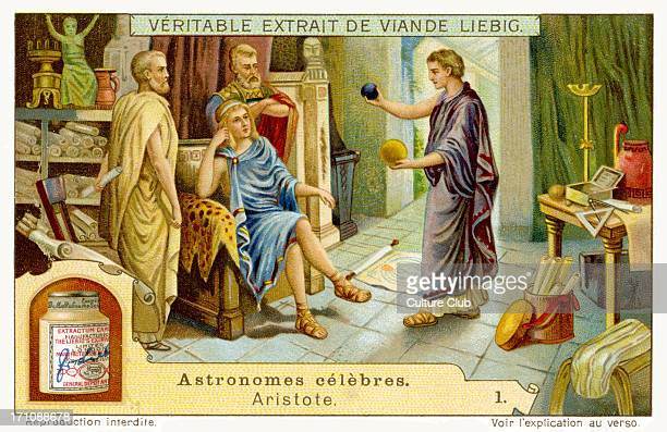 Aristotle at the court of Philip of Macedonia educating his son the future Alexander the Great aged 13 Teaching the boy about the laws of the Cosmos...