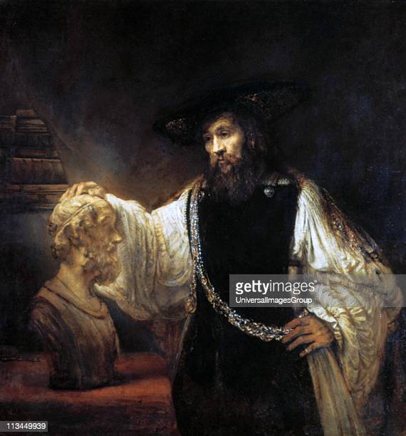 Aristotle Contemplating the Bust of Homer' Oil on canvas Rembrandt Harmenszoon van Rijn Dutch painter and etcher Portrait Philosopher Ancient Greek