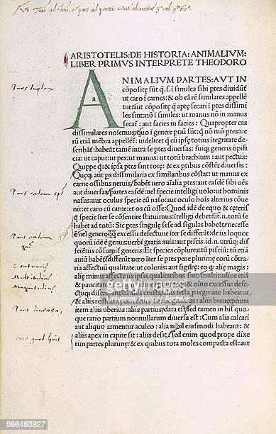 Aristotle De animalibus Latin translation by Theodoros of Gaza printed in Venice 1476