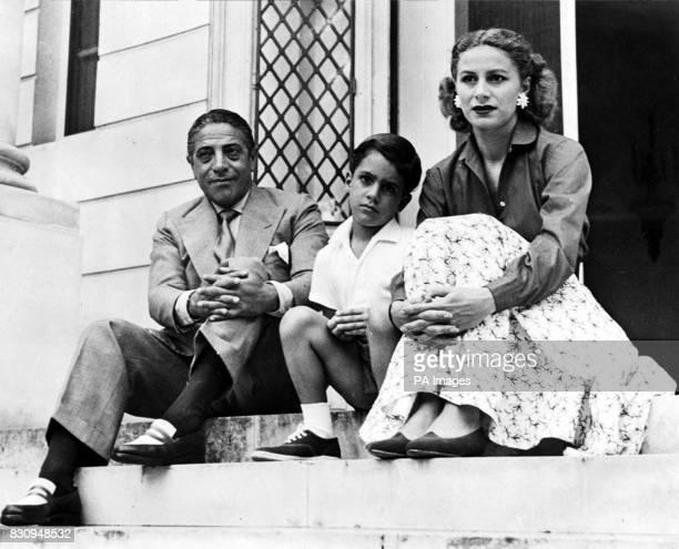 Aristotle Onassis 11 yearold Alexander Onassis Mrs Athina Mary Onassis in Monte Carlo