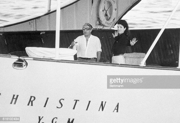 Aristotle Onassis and his wife the former Jacqueline Kennedy aboard their yacht the Christina shortly before sailing to Martinique