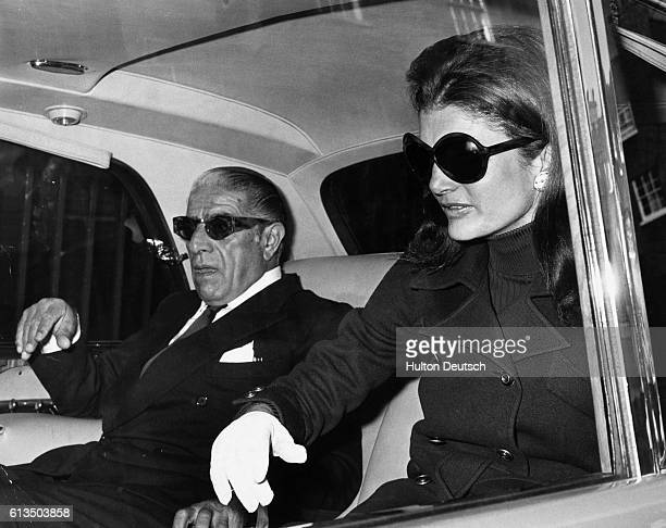 Aristotle Onassis with his wife Jacqueline Kennedy Onassis, just before flying from London to Belfast. 1970.