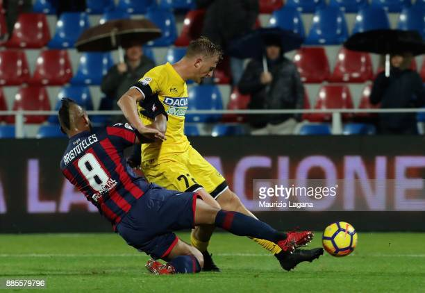 Aritoteles of Crotone competes for the ball with Antonin Barak of Udinese during the Serie A match between FC Crotone and Udinese Calcio at Stadio...