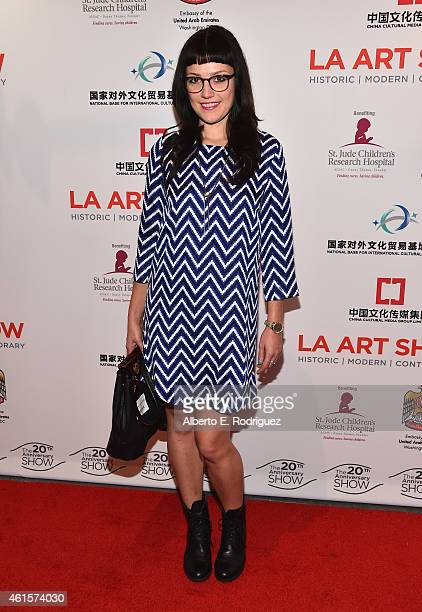 Aritst Caroline Geys arrives to the LA Art Show 2015 Opening Night Premiere Party at the Los Angeles Convention Center on January 14 2015 in Los...