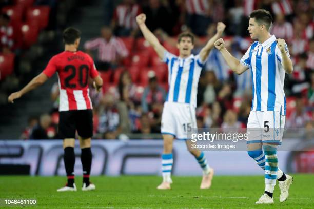 Aritz Aduriz of Athletic Bilbao Aritz Elustondo of Real Sociedad Igor Zubeldia of Real Sociedad during the La Liga Santander match between Athletic...