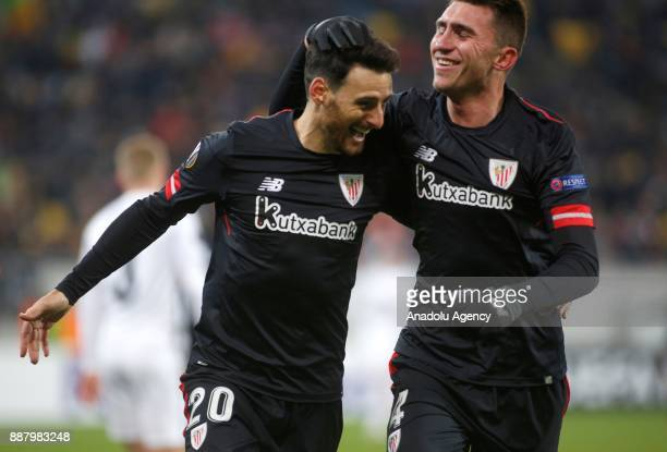 Aritz Aduriz of Athletic Bilbao celebrates after scoring a goal during the UEFA Europa League Group J soccer match between Zorya Luhansk and Athletic...