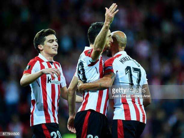 Aritz Aduriz of Athletic Bilbao celebrates after scoring his team's second goal during the UEFA Europa League group J match between Athletic Bilbao...