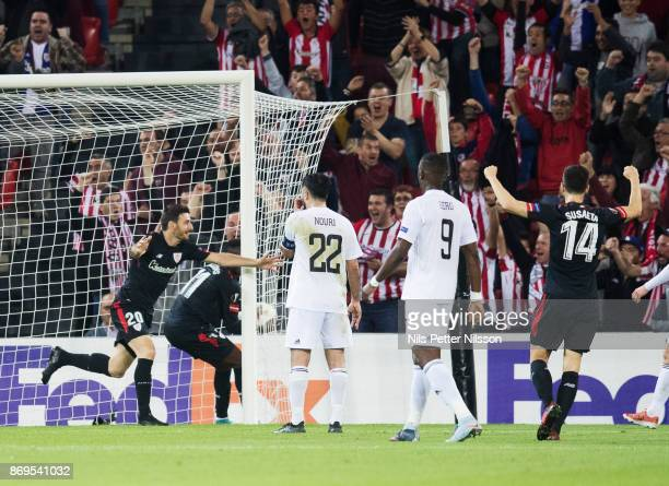 Aritz Aduriz of Athletic Bilbao celebrates after scoring to 10 during the UEFA Europa League group J match between Athletic Bilbao and Ostersunds FK...