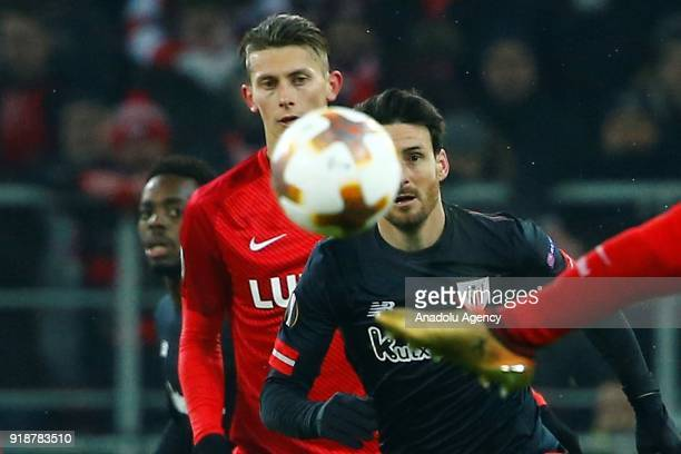 Aritz Aduriz of Athletic Bilbao in action during the UEFA Europa League round of 32 first leg soccer match between Spartak Moscow and Athletic Bilbao...