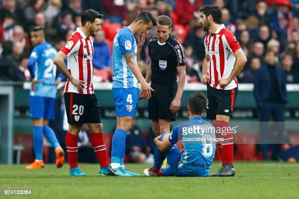 Aritz Aduriz of Athletic Bilbao Luis Hernandez of Malaga CF Adrian of Malaga CF Aritz Aduriz of Athletic Bilbao during the La Liga Santander match...