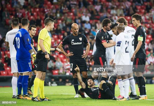 Aritz Aduriz of Athletic Bilbao reacts towards Pawel Gil referee during the UEFA Europa League group J match between Athletic Bilbao and Ostersunds...