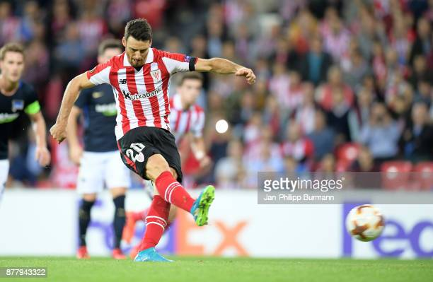 Aritz Aduriz of Athletic Bilbao scores the 11 during the UEFA Europe League Group J match between Athletic Bilbao and Hertha BSC at San Mames Stadium...