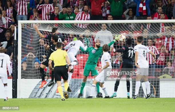 Aritz Aduriz of Athletic Bilbao scores the decisive goal to 10 during the UEFA Europa League group J match between Athletic Bilbao and Ostersunds FK...