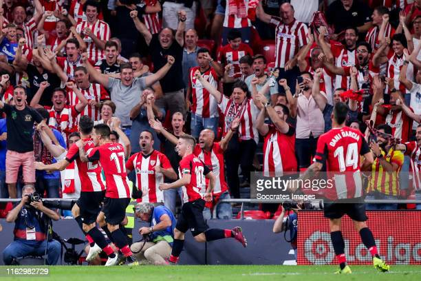 Aritz Aduriz of Athletic Bilbao, Yuri of Athletic Bilbao, Iker Muniain of Athletic Bilbao, Dani Garcia of Athletic Bilbao celebrates goal 1-0 during...