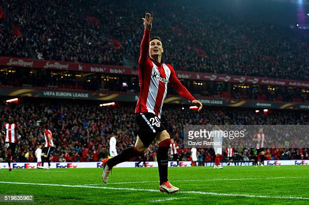 Aritz Aduriz of Athletic Club Bilbao celebrates as he scores their first goal during the UEFA Europa League quarter final first leg match between...