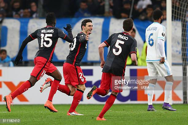 Aritz Aduriz of Athletic Club Bilbao celebrates scoring his team's first goal during the UEFA Europa League Round of 32 match between Marseille and...