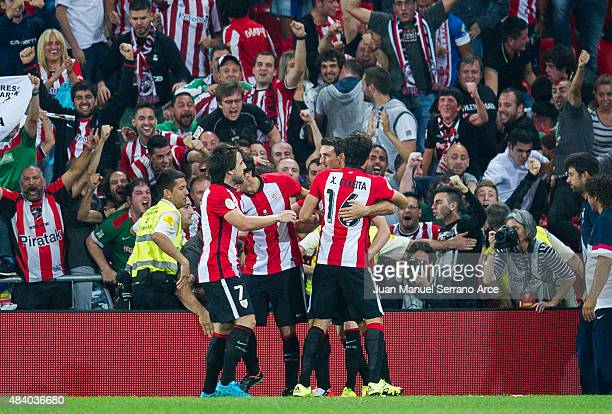 Aritz Aduriz of Athletic Club celebrates after scoring goal during the Super Cup first leg match between of Athletic Club and FC Barcelona at San...