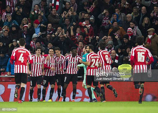 Aritz Aduriz of Athletic Club celebrates after scoring goal during the Copa del Rey Round of 16 first leg match between Athletic Club and FC...