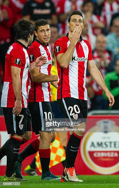 Aritz Aduriz of Athletic Club celebrates after scoring his team's fourth goal during the UEFA Europa League match between Athletic Club and FK...