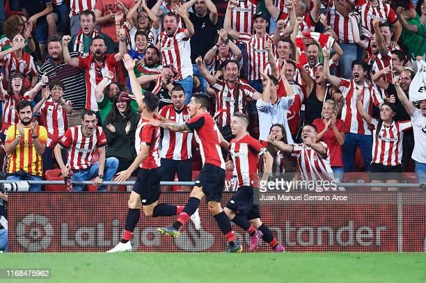 Aritz Aduriz of Athletic Club celebrates after scoring the first goal of Athletic Club during the Liga match between Athletic Club and FC Barcelona...