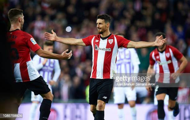 Aritz Aduriz of Athletic Club celebrates after scoring the openig goal during during the La Liga match between Athletic Club and Real Valladolid CF...
