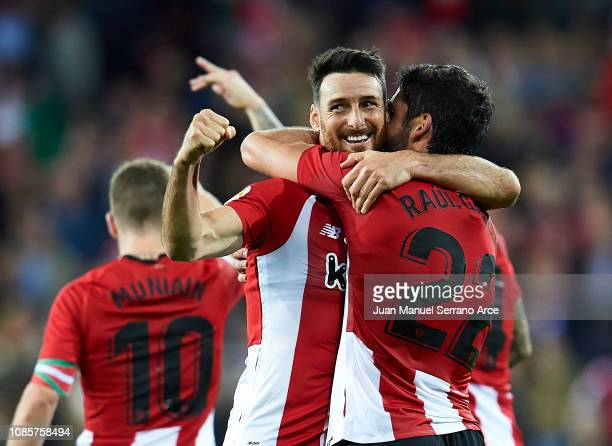 Aritz Aduriz of Athletic Club celebrates with his teammate Raul Garcia of Athletic Club after scoring the opening goal during during the La Liga...