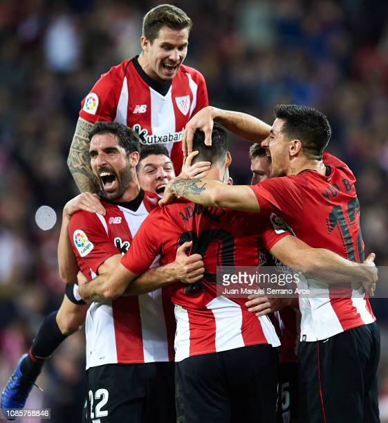 Aritz Aduriz of Athletic Club celebrates with teammates after scoring the opening goal during during the La Liga match between Athletic Club and Real...