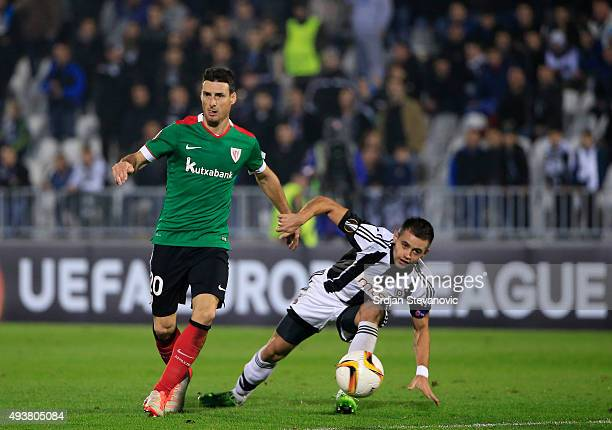 Aritz Aduriz of Athletic Club in action against Milos Ostojic of FK Partizan during the UEFA Europa League match between FK Partizan v Athletic Club...