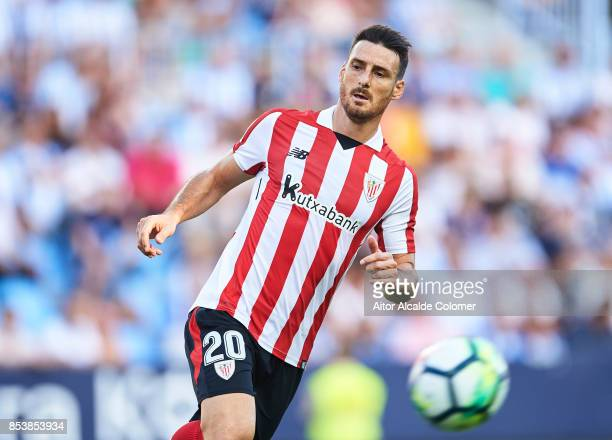 Aritz Aduriz of Athletic Club in action during the La Liga match between Malaga and Athletic Club at Estadio La Rosaleda on September 23 2017 in...