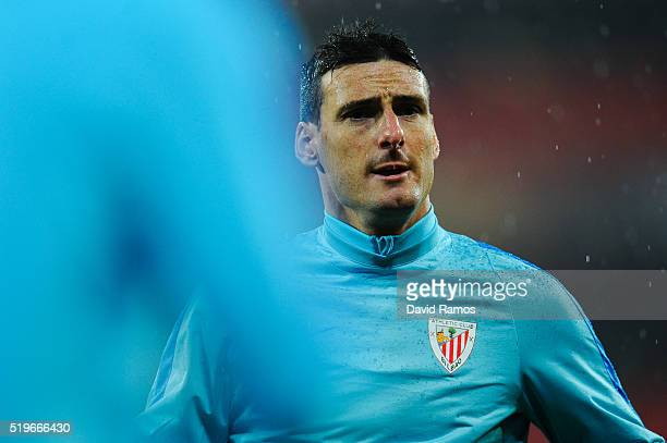 Aritz Aduriz of Athletic Club looks on during the warm up ahead of the UEFA Europa League quarter final first leg match between Athletic Bilbao and...